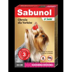 SABUNOL GPI obroża ozdobna różowa przeciw kleszczom i pchłom dla Yorków 35 cm