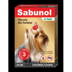 SABUNOL GPI obroża ozdobna czarna przeciw kleszczom i pchłom dla Yorków 35 cm