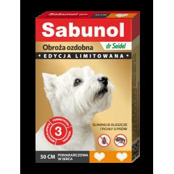 SABUNOL GPI obroża ozdobna pomarańczowa w serca przeciw kleszczom i pchłom dla psów 50 cm