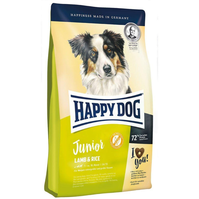 HAPPY DOG Junior Jagnięcina i Ryż 4kg