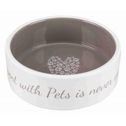 TRIXIE Miska ceramiczna Pet's Home, 0.3 l/o 12 cm, kremowa/ciemnoszara [TX-25053]