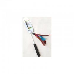 YARRO Zabawka dla kota - wędka z teleskopową rączką z czerwonymi piórkami 20/55/94cm [Y0206]