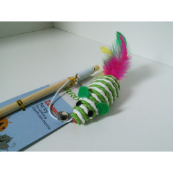 YARRO Zabawka dla kota - wędka z myszką sizalową z piórkami, patyk drewniany 35cm [Y0252]