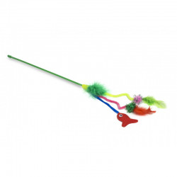 YARRO Zabawka dla kota - wędka zielona z piórkami i rybką, dł.40cm [Y0255]
