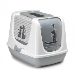 YARRO Toaleta Trendy nr 2 z filtrem dla kota -  Zakochany kot, kolor szary 57x45x42,5cm [Y3450-1073]